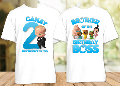 Boss Baby Birthday Party Personalized T Shirt or Onesie - 2 Pack - BB2P1