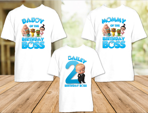 Boss Baby Birthday Party Personalized T Shirt or Onesie - 3 Pack - BB3P1