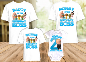 Boss Baby Birthday Party Personalized T Shirt or Onesie - 4 Pack - BB4P1