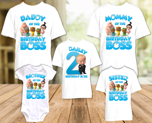 Boss Baby Birthday Party Personalized T Shirt or Onesie - 5 Pack - BB5P1