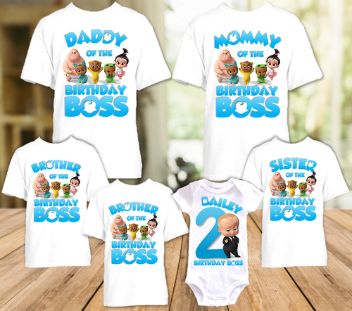 Boss Baby Birthday Party Personalized T Shirt or Onesie - 6 Pack - BB6P1