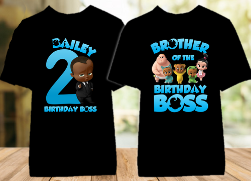 Boss Baby Black Boy Birthday Party Personalized Color T Shirt - 2 Pack - BB2P02
