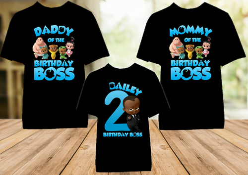 Boss Baby Black Boy Birthday Party Personalized Color T Shirt - 3 Pack - BB3P02