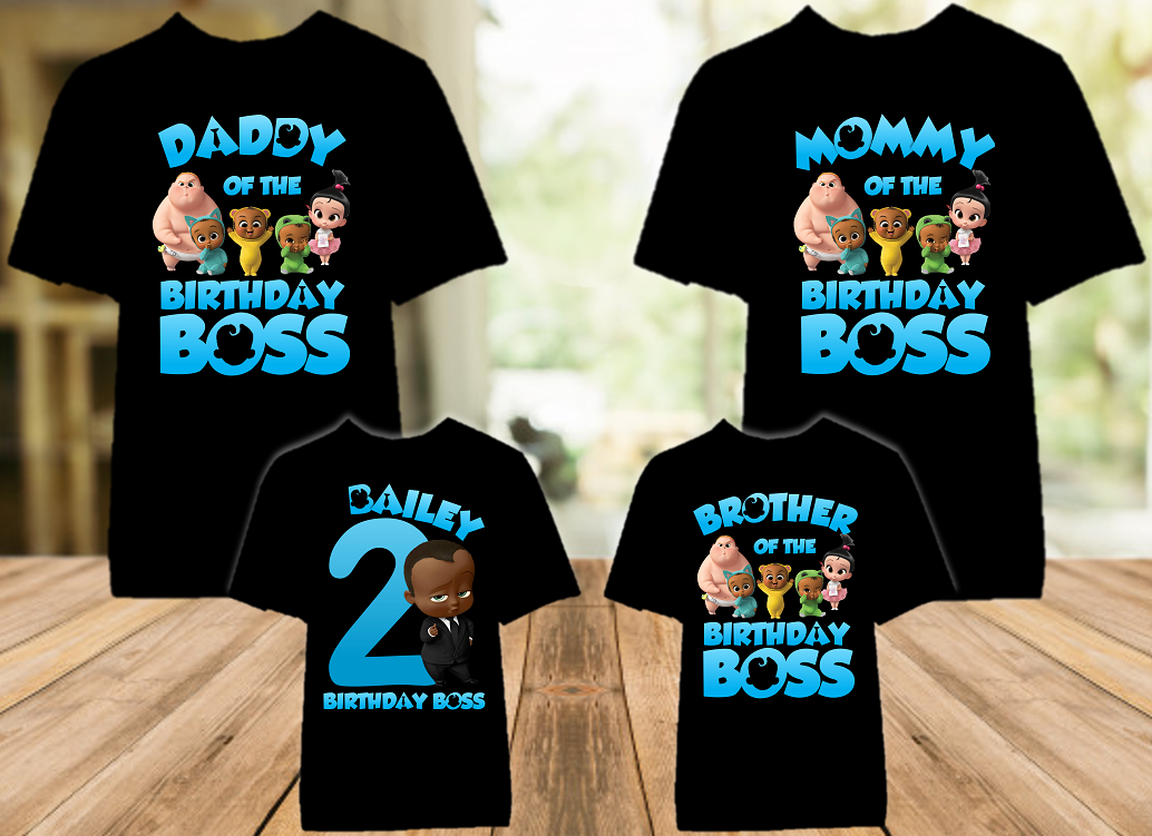 Boss Baby Black Boy Birthday Party Personalized Color T Shirt - 4 Pack - BB4P02