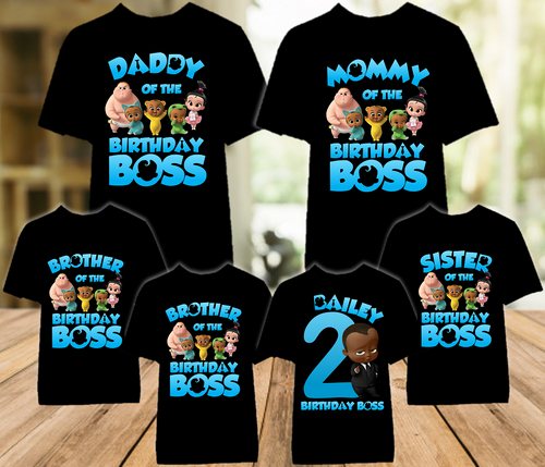 Boss Baby Black Boy Birthday Party Personalized Color T Shirt - 6 Pack - BB6P02