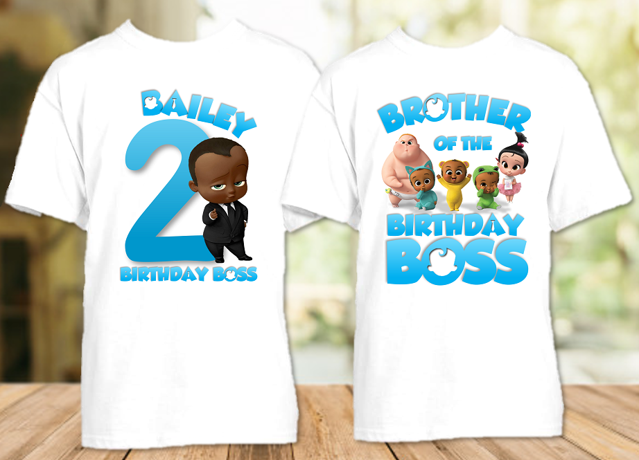 Boss Baby Black Boy Birthday Party Personalized T Shirt or Onesie - 2 Pack - BB2P2