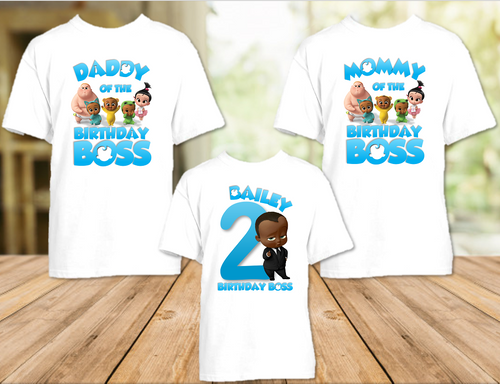 Boss Baby Black Boy Birthday Party Personalized T Shirt or Onesie - 3 Pack - BB3P2