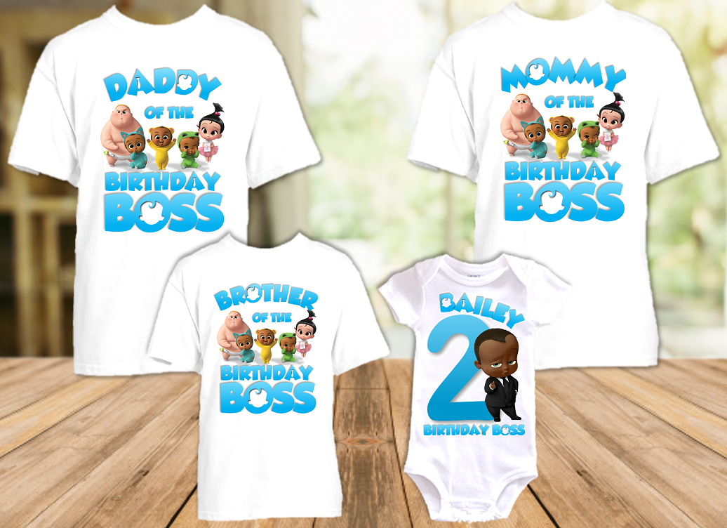 Boss Baby Black Boy Birthday Party Personalized T Shirt or Onesie - 4 Pack - BB4P2