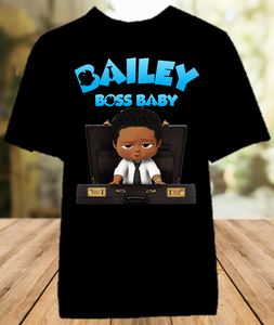 Boss Baby Black Boy Party Personalized Color T Shirt - All Sizes Available - BB1011
