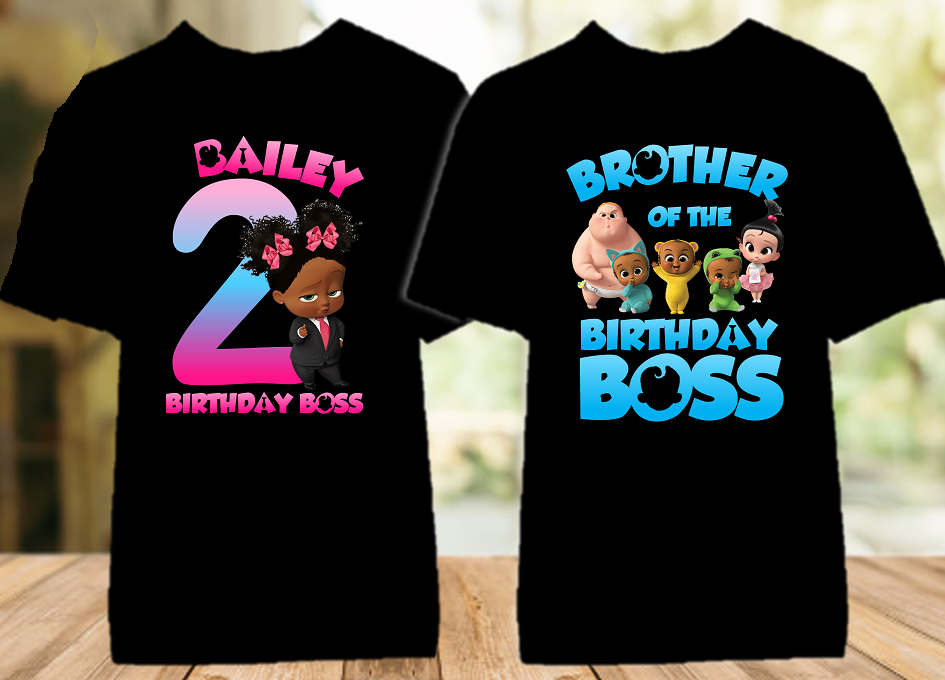 Boss Baby Black Girl Birthday Party Personalized Color T Shirt - 2 Pack - BB2P03