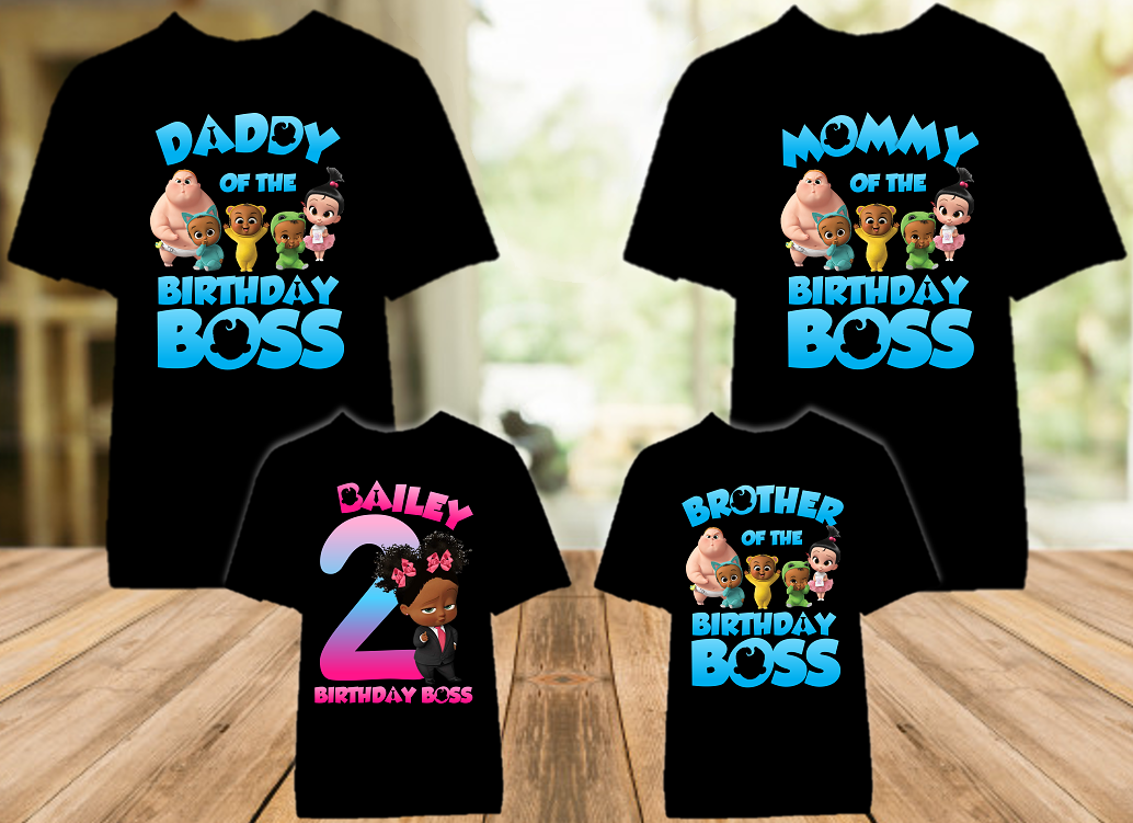 Boss Baby Black Girl Birthday Party Personalized Color T Shirt - 4 Pack - BB4P03