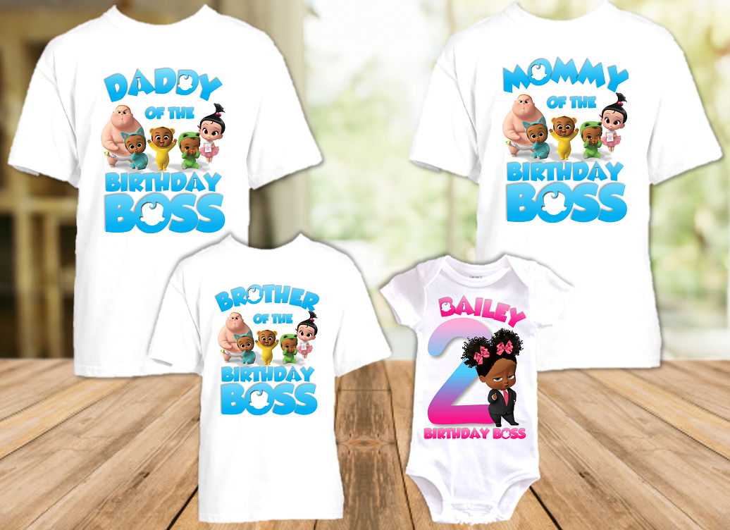 Boss Baby Black Girl Birthday Party Personalized T Shirt or Onesie - 4 Pack - BB4P3