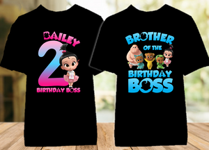 Boss Baby Staci Birthday Party Personalized Color T Shirt - 2 Pack - BB2P04