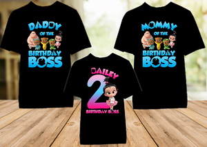 Boss Baby Staci Birthday Party Personalized Color T Shirt - 3 Pack - BB3P04