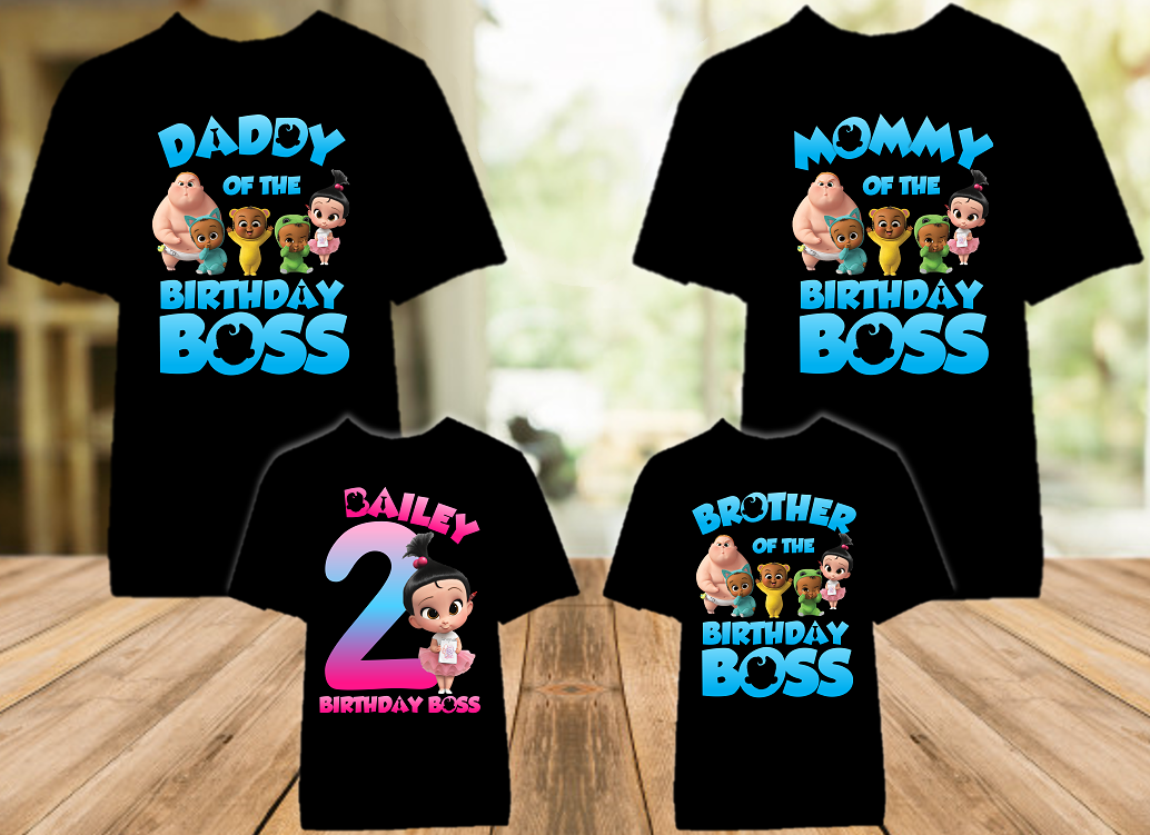 Boss Baby Staci Birthday Party Personalized Color T Shirt - 4 Pack - BB4P04