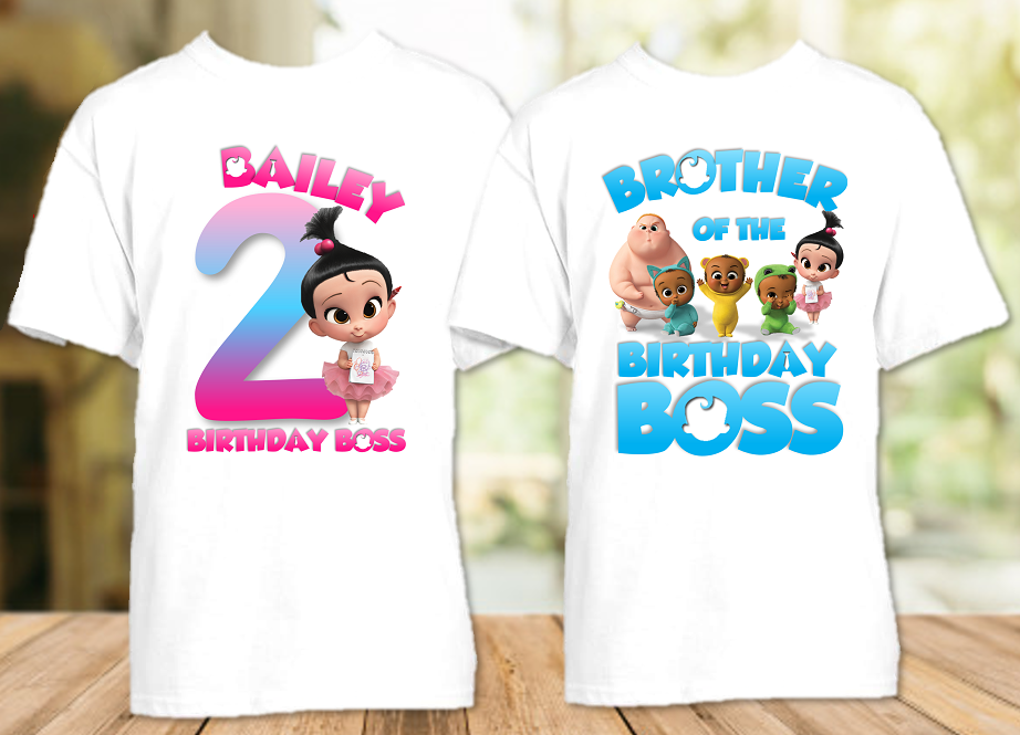 Boss Baby Staci Birthday Party Personalized T Shirt or Onesie - 2 Pack - BB2P4