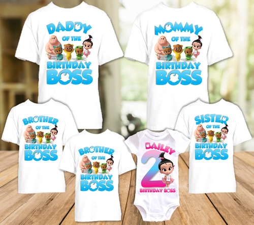 Boss Baby Staci Birthday Party Personalized T Shirt or Onesie - 6 Pack - BB6P4