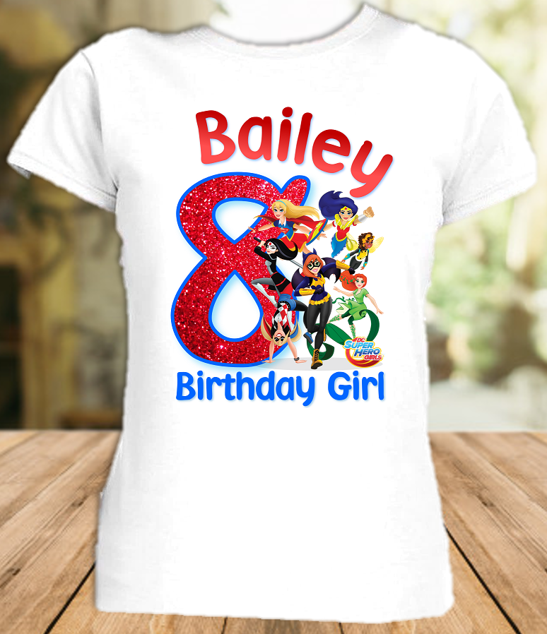DC Super Hero Girls Birthday Party Personalized T Shirt or Onesie - All Sizes - SHS1