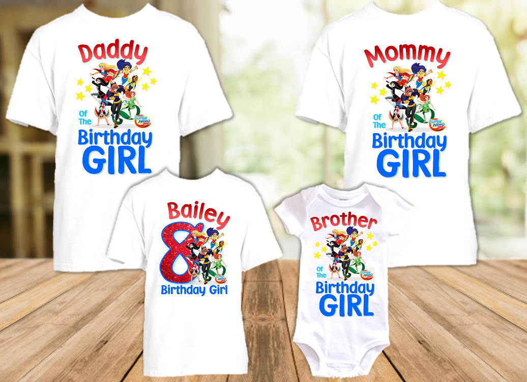 DC Super Hero Girls Birthday Party Personalized T Shirt or Onesie - 4 Pack - SH4P