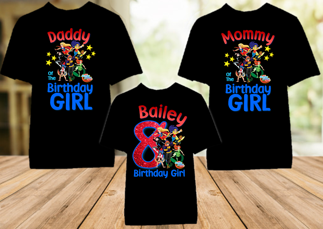DC Super Hero Girls Birthday Party Personalized Color T Shirt - 3 Pack - SHC3P