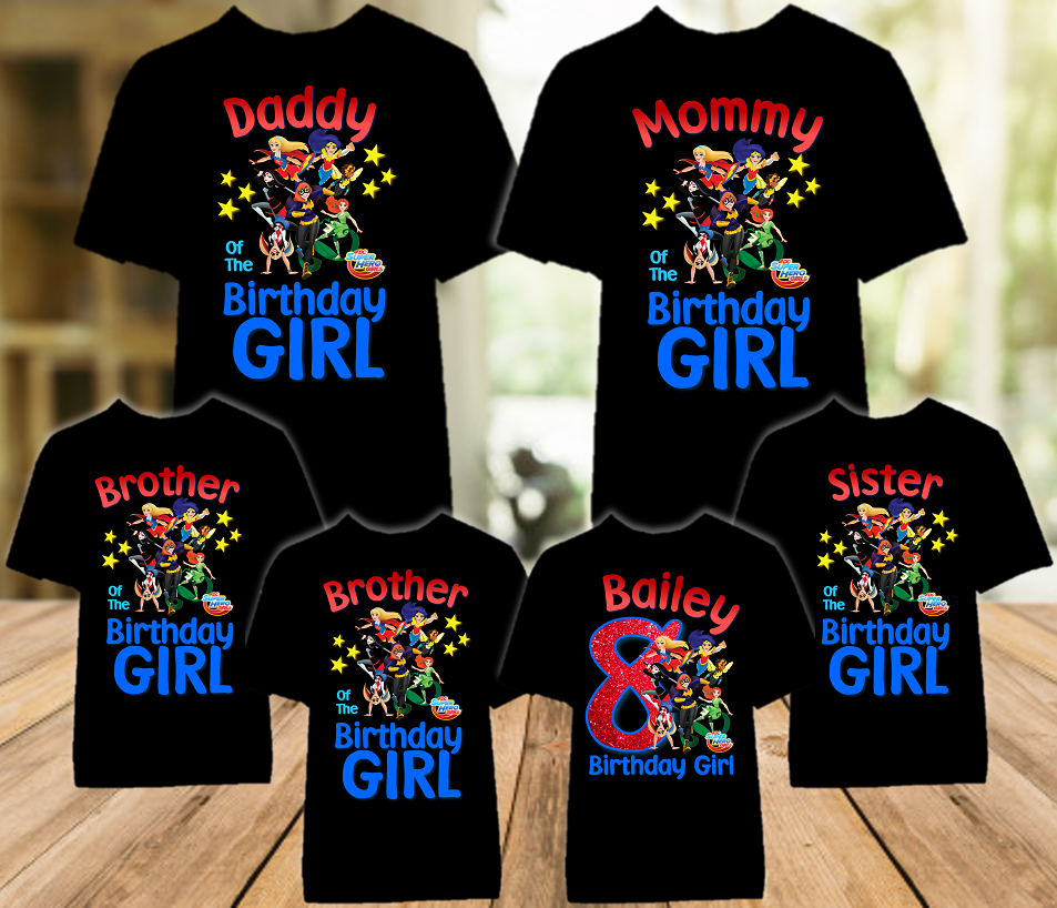 DC Super Hero Girls Birthday Party Personalized Color T Shirt - 6 Pack - SHC6P