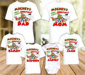 Mickey Mouse Merry Christmas Disney World Vacation T Shirt or Onesie - 6 Pack - MC6P