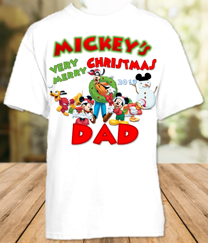 Mickey Mouse Merry Christmas Disney World Vacation Dad Daddy Father T Shirt - All Sizes - MMCDS1