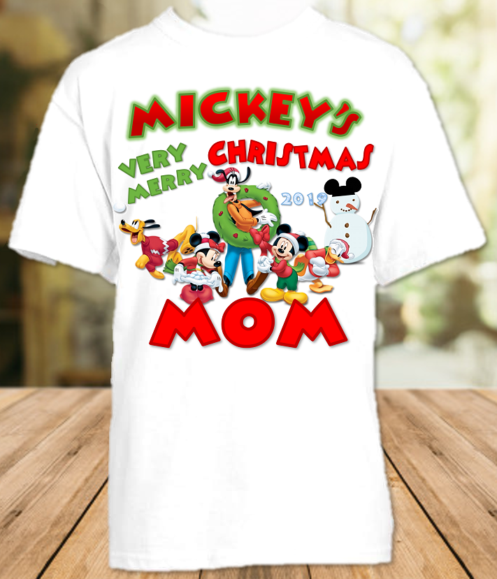 Mickey Mouse Merry Christmas Disney World Vacation Mom Mommy Mother T Shirt - All Sizes - MMCMS1