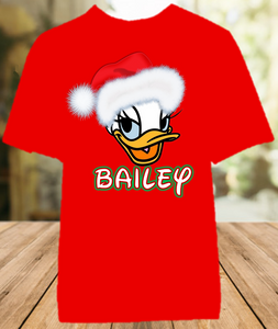 Daisy Duck Face Merry Christmas Disney World Family Vacation Color Shirt - All Sizes - DDUFCCS1