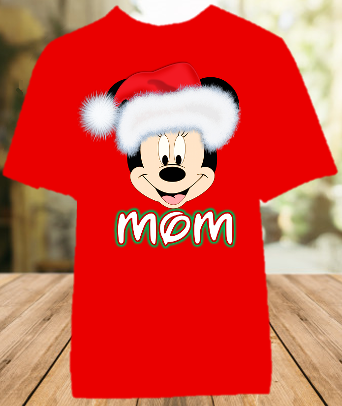 Minnie Mouse Face Merry Christmas Disney World Family Vacation Color Shirt - All Sizes - MMSFCCS1