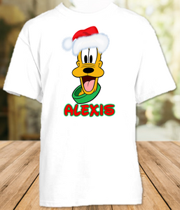 Pluto Face Merry Christmas Disney World Family Vacation Shirt or Onesie - All Sizes - PFCS1