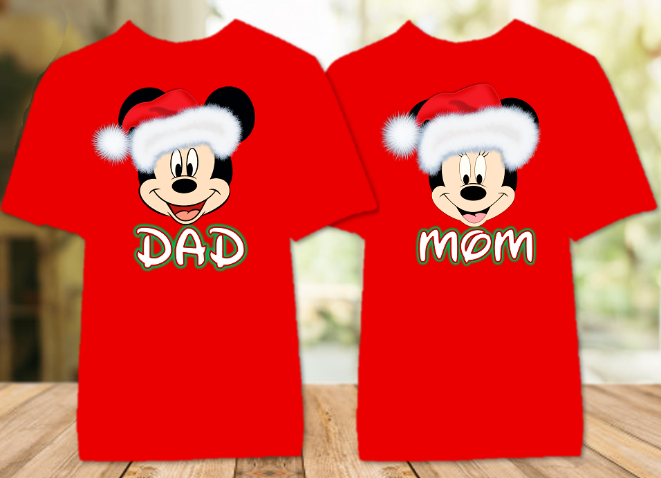 Mickey Minnie Face Merry Christmas Disney World Family Vacation Color T Shirt - 2 Pack - MFCC2P