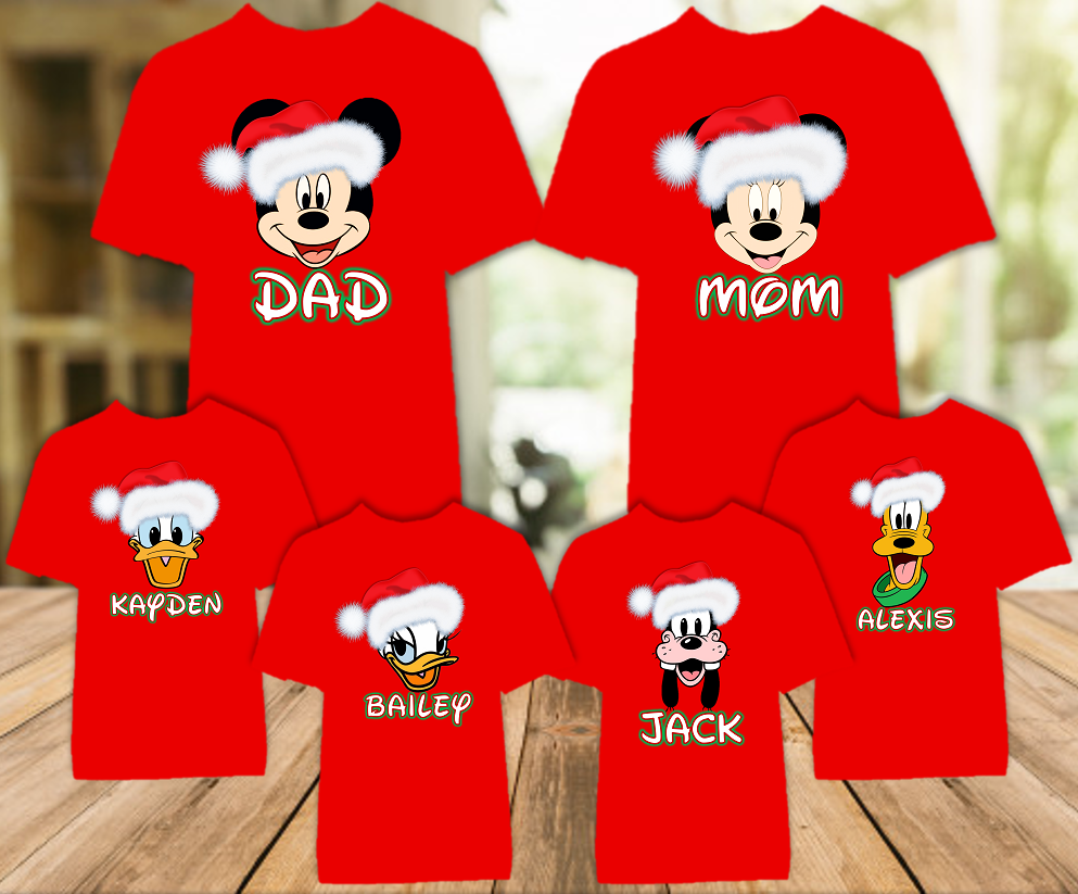 Mickey Minnie Face Merry Christmas Disney World Family Vacation Color T Shirt - 6 Pack - MFCC6P