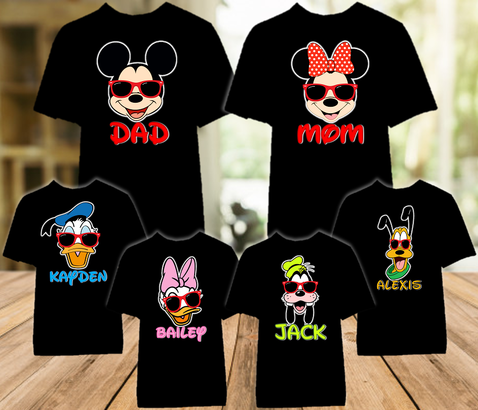 Mickey Minnie Face Disney World Disneyland Family Vacation Color T Shirt - 6 Pack - MMFCO6P