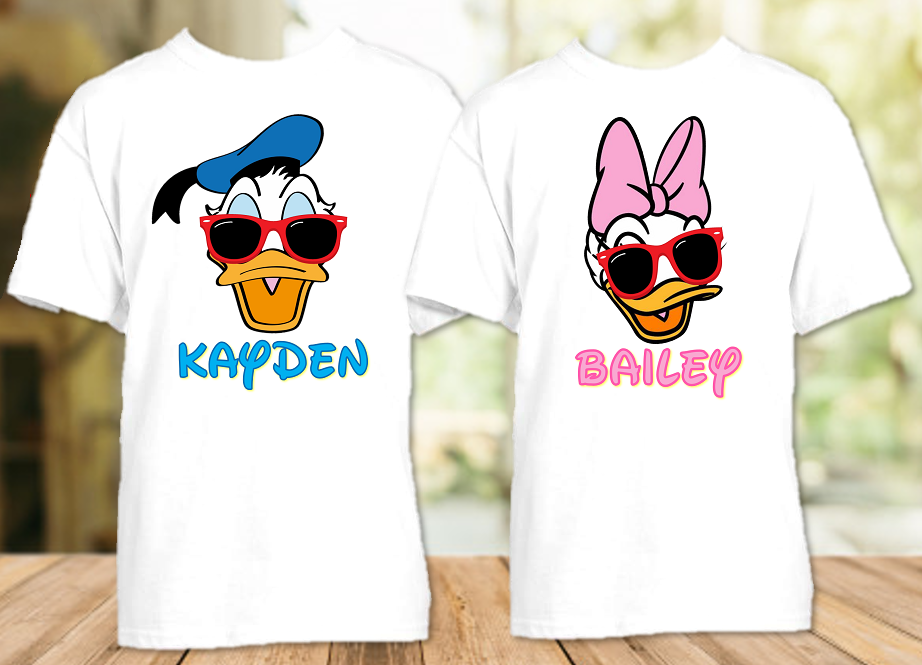 Donald Daisy Duck Face Disney World Disneyland Family Vacation T Shirt or Onesie - 2 Pack - DDF2P