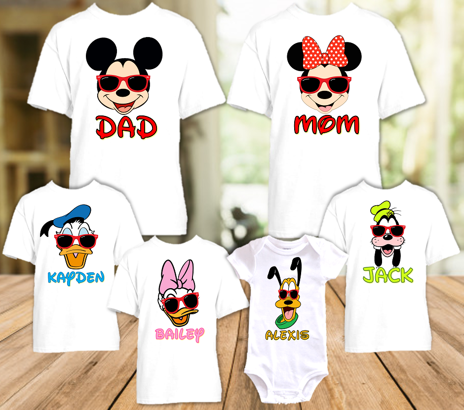 Mickey Minnie Face Disney World Disneyland Family Vacation T Shirt or Onesie - 6 Pack - MMF6P