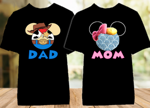 Disney World Disneyland Toy Story Face Personalized Family Vacation Color T Shirt - 2 Pack - DWTSFC2P