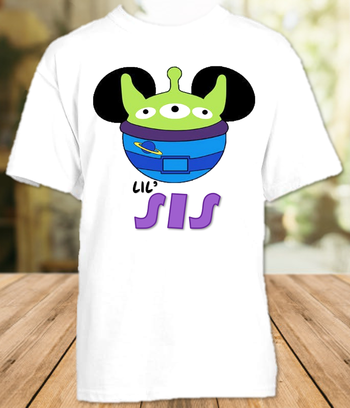 Disney World Disneyland Toy Story Face Personalized Family Vacation Alien Sister T Shirt or Onesie - All Sizes - DWTSBFASS1