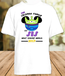 Disney World Disneyland Toy Story Personalized Family Vacation Alien Sister T Shirt or Onesie - All Sizes - DWTSAS1