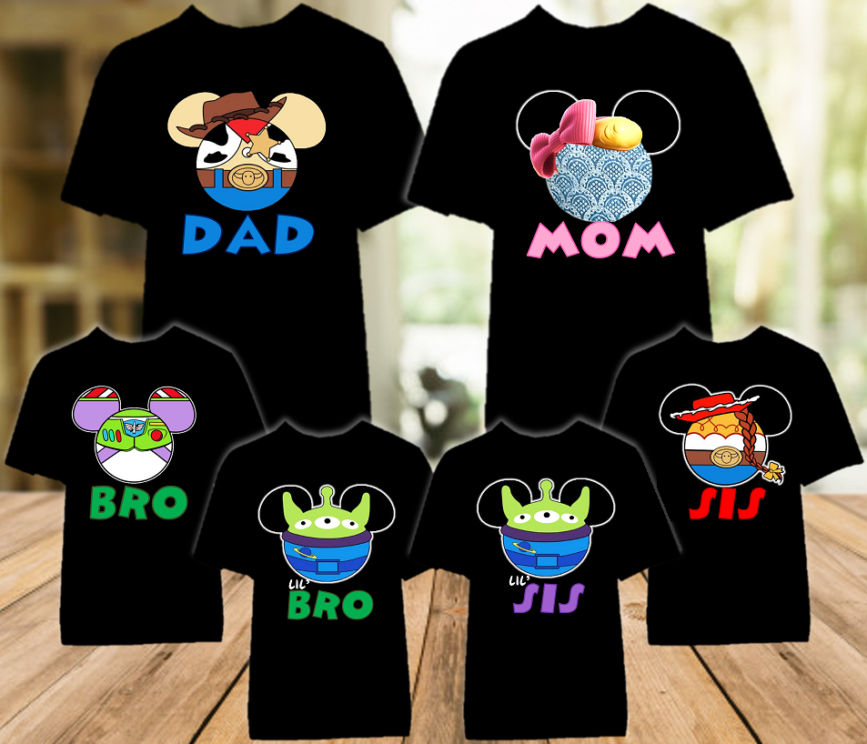 Disney World Disneyland Toy Story Face Personalized Family Vacation Color T Shirt - 6 Pack - DWTSFC6P