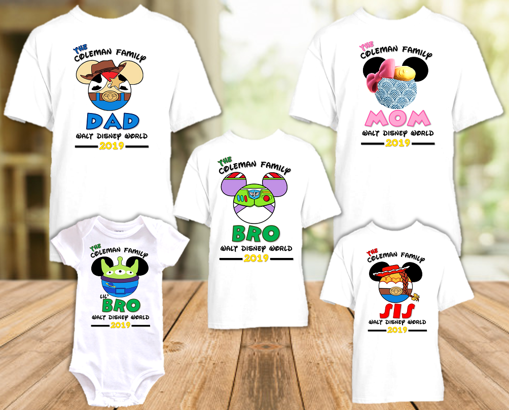 Disney World Disneyland Toy Story Personalized Family Vacation T Shirt or Onesie - 5 Pack - DWTS5P