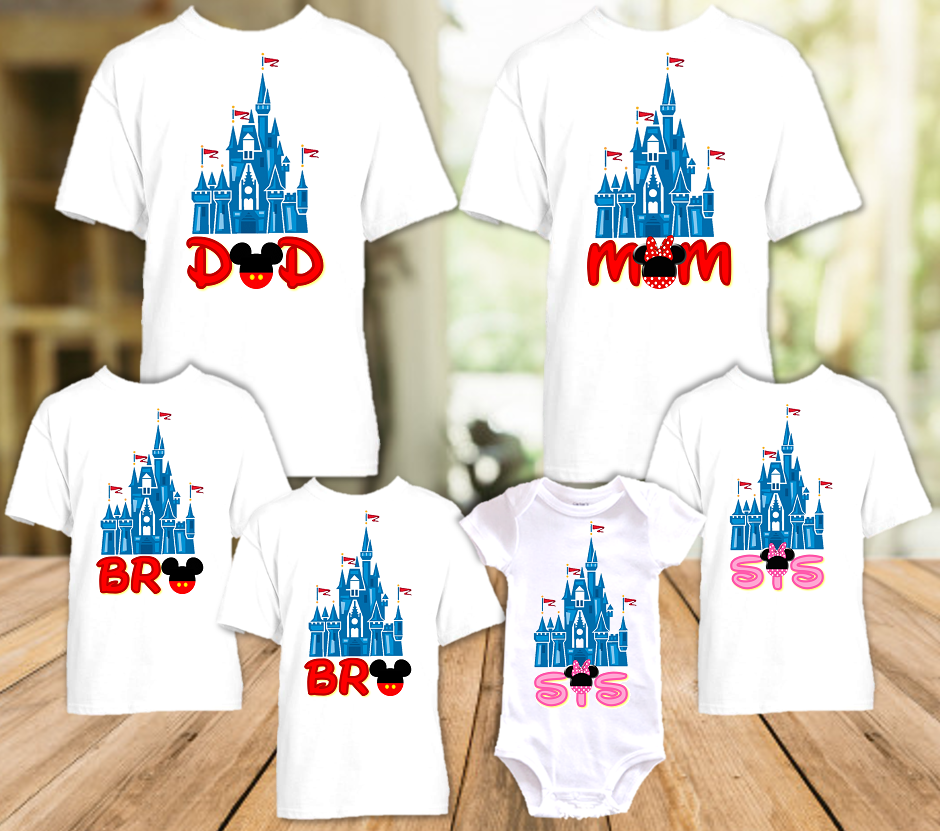 Disney World Family Vacation Mickey Castle Personalized T Shirt or Onesie - 6 Pack - DC6P
