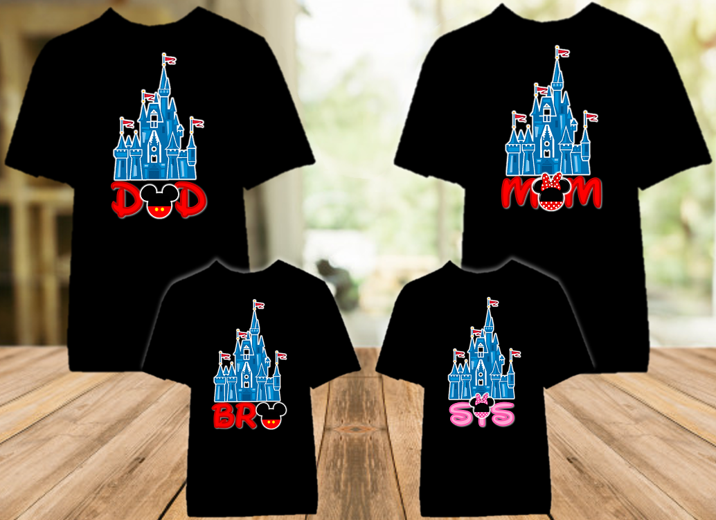 Disney World Family Vacation Mickey Castle Personalized Color T Shirt - 4 Pack - DCC4P