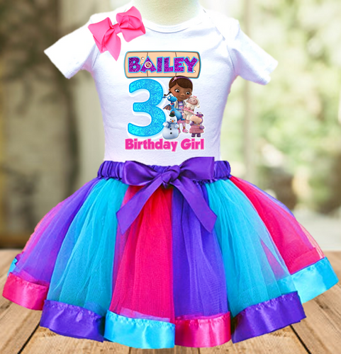Doc Mcstuffins Birthday Party Personalized Ribbon Tutu Outfit - All Sizes Available - DMTO01