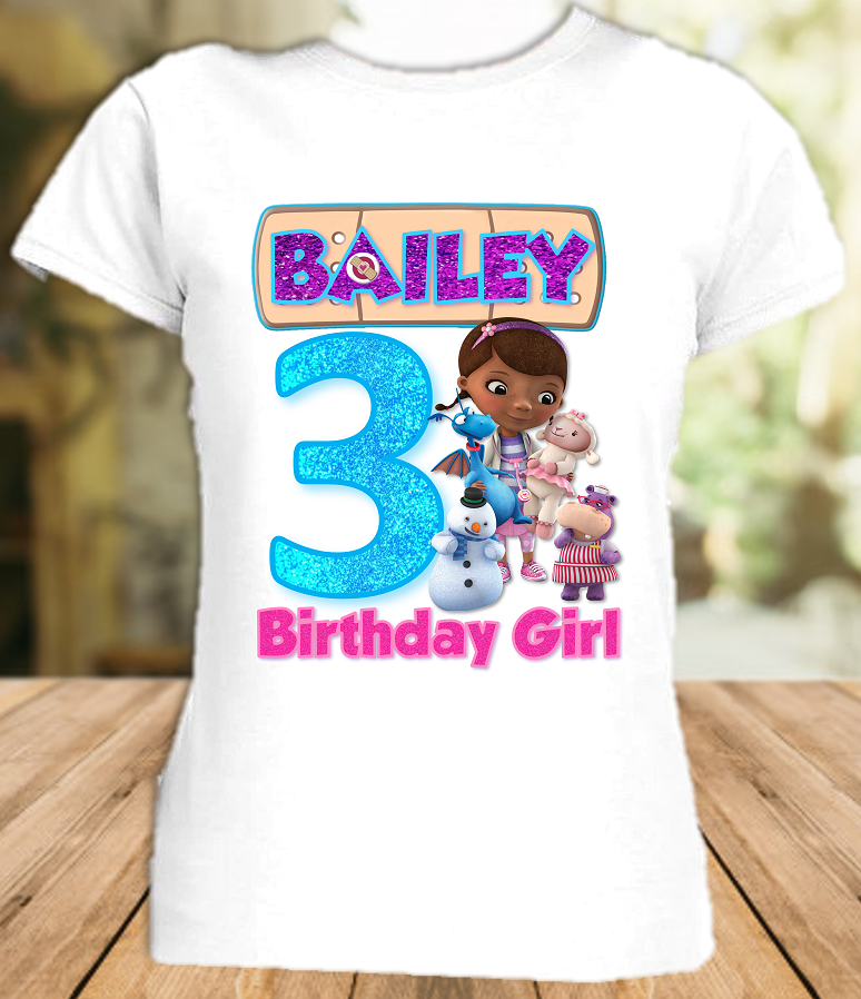 Doc Mcstuffins Birthday Party Personalized T Shirt or Onesie - All Sizes - DMS1