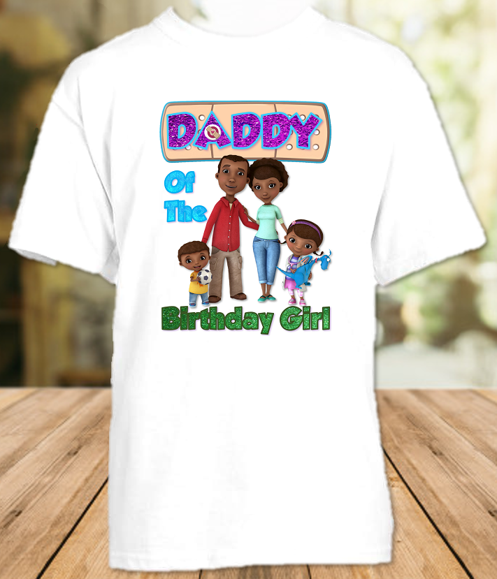 Doc Mcstuffins Birthday Party Personalized Parent Dad Daddy Father T Shirt - All Sizes - DMDS1