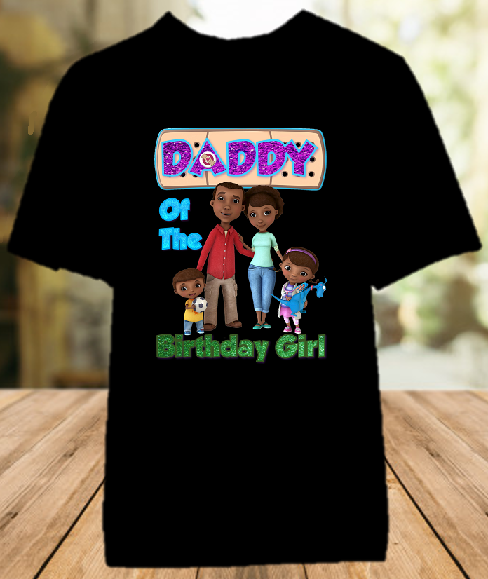 Doc Mcstuffins Birthday Party Personalized Parent Dad Daddy Father Color T Shirt - All Sizes - DMDCS1