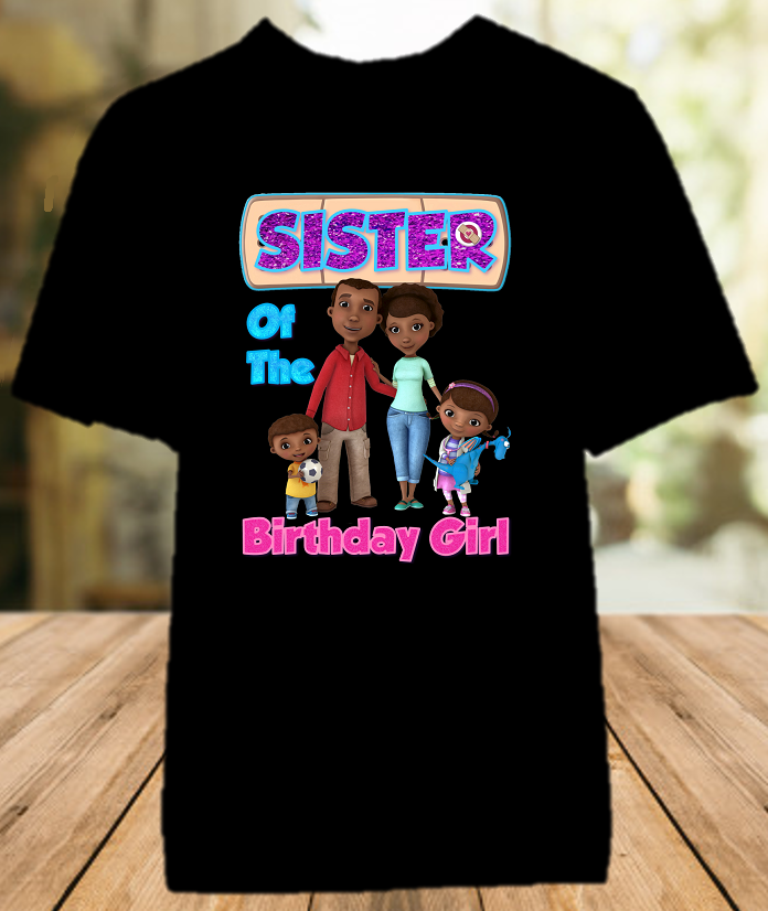 Doc Mcstuffins Birthday Party Personalized Sibling Sister Color T Shirt - All Sizes - DMSCS1