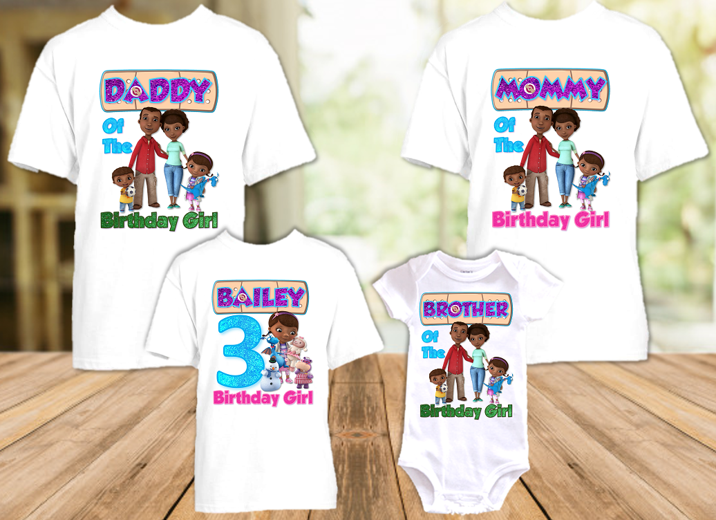 Doc Mcstuffins Birthday Party Personalized T Shirt or Onesie - 4 Pack - DM4P
