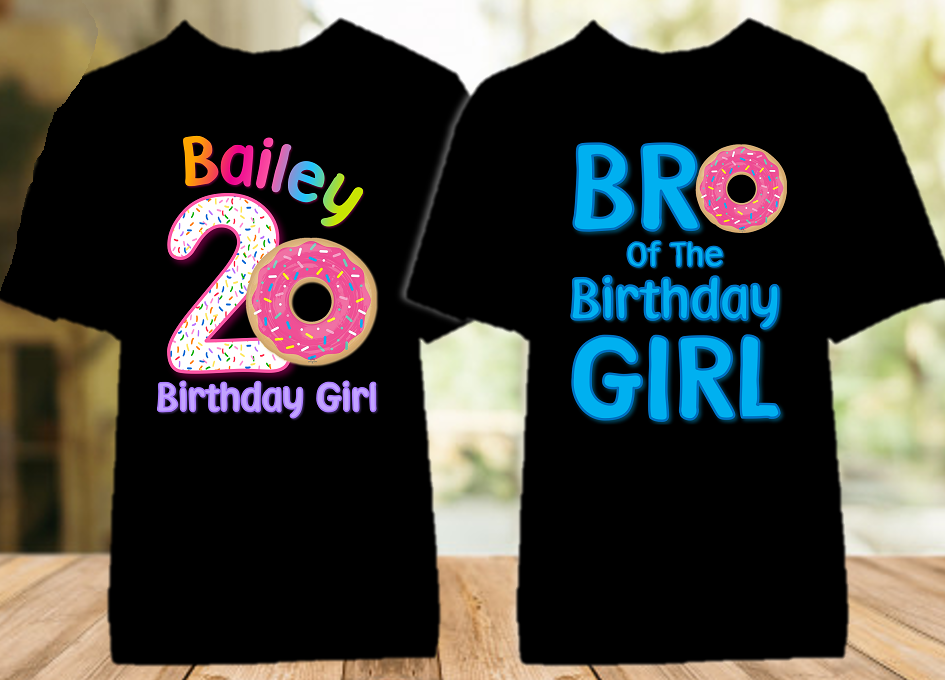 Donut Grow Up Birthday Party Personalized Color T Shirt - 2 Pack - DOC2P